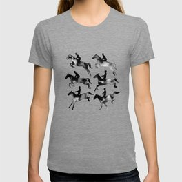 Watercolor Showjumping Horses (Black) T-shirt