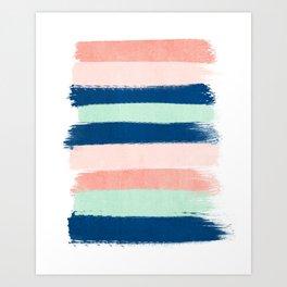 Stripes painterly pastel trendy color way modern home decor dorm nursery style Art Print