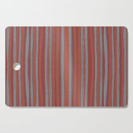 Grey and terracotta stripes Cutting Board