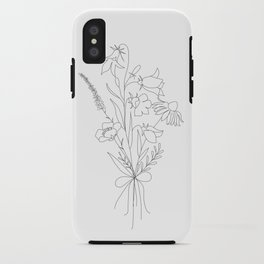 Small Wildflowers Minimalist Line Art iPhone Case