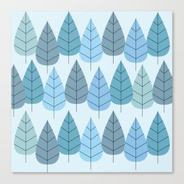 Mid century Trees in Blue Canvas Print
