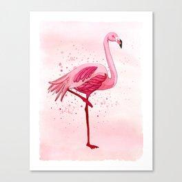 Pink Watercolor Flamingo Canvas Print