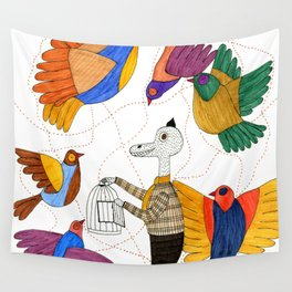 Mr.Master setting the birds free Wall Tapestry