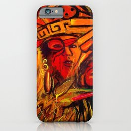 Indigenous Inca Tribes People portrait painting by Ortega Maila iPhone Case