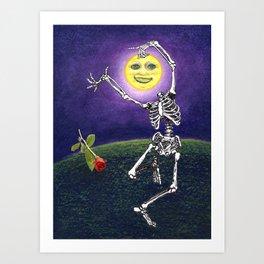 Skeleton Moon Art Print