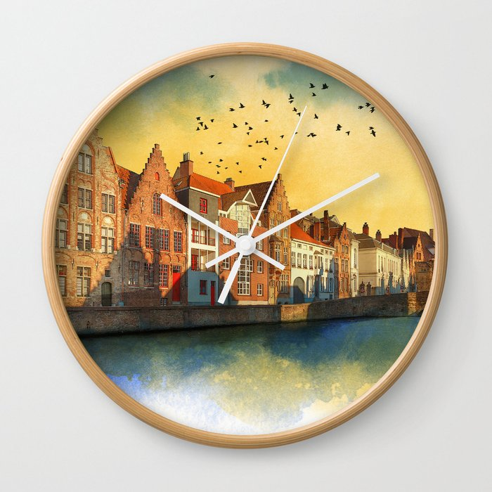 Landscape with beautiful medieval houses and canals. Bruges, Belgium. Wall Clock