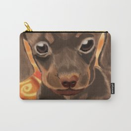 Cute brown puppy on orange blanket Carry-All Pouch