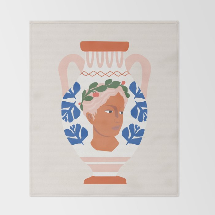 Greek Goddess Vase Throw Blanket