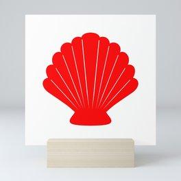 Seashell (Red & White) Mini Art Print