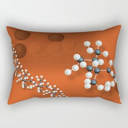Atomic structure on red canvas Rectangular Pillow