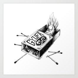Combustible Thumb for dark tees Art Print