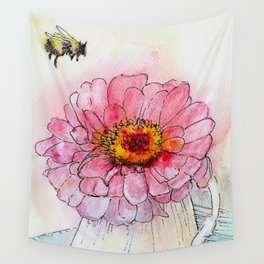 Botanical Flower Pink Zinnias in Pitcher Wall Tapestry