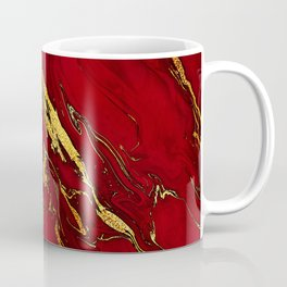 Chic Elegant Fire Red Ombre Glitter Marble Coffee Mug