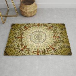 Golden Compass Mandala Rug