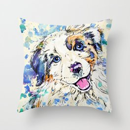 Aussie Pup - Australian Shepherd Dog Painting Throw Pillow