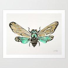 Summer Cicada – Mint & Tan Palette Art Print