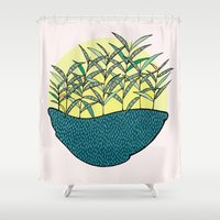 palm Shower Curtains featuring palm by Aleksandra Salevic