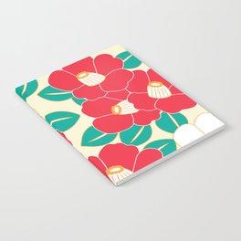 Japanese Style Camellia - Red and White Notebook