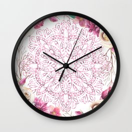 Mandala Rose Garden Pink on White Wall Clock
