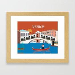 Venice, Italy - Skyline Illustration by Loose Petals Framed Art Print