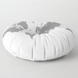 Minimalist World Map Gray on White Background Floor Pillow