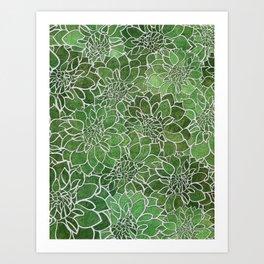 Dahlia Flower Pattern 4 Art Print