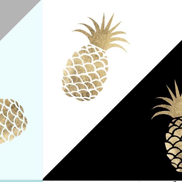 Pastel color block watercolor dots faux gold pineapple Leggings