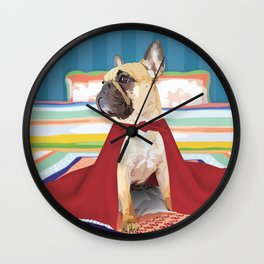 Super Frenchie: French Bulldog in Cape Wall Clock