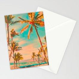 Vintage Hawaiian Beach, Mauna Lani Bay Teal Stationery Cards