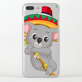 Climbing Koala Bear With Cinco De Mayo Hat T-Shirt Clear iPhone Case