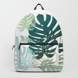 Tropical minimal / green, turquoise and gold monstera Backpack