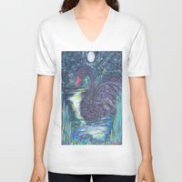 black swan V-neck T-shirts featuring Black Swan by Amber Rose Stahl