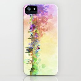 London skyline in watercolor background iPhone Case