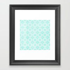 MOROCCAN {TEAL & WHITE 2} Framed Art Print