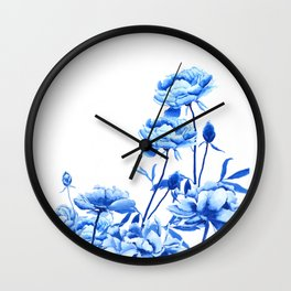 blue peonies Wall Clock