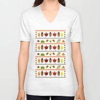 thanksgiving V-neck T-shirts featuring Ugly Thanksgiving Sweater by Art by Ash