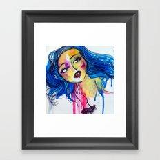 blue haired girl Framed Art Print