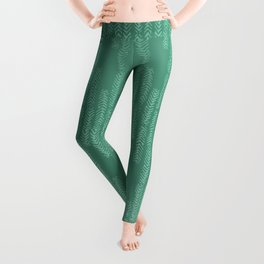 Eye of the Magpie tribal style pattern - mint green Leggings