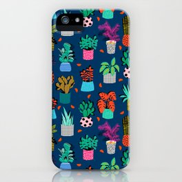 Check It - house plants indoor monstera neon bright modern pattern retro throwback memphis style iPhone Case