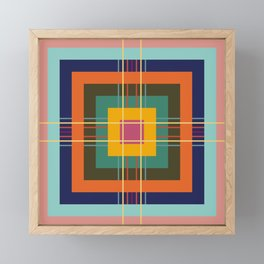 Fine Lines on Retro Colored Squares Framed Mini Art Print