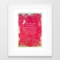 bible verses Framed Art Prints featuring Typographic Motivational Bible Verses - John 1:17 by The Wooden Tree