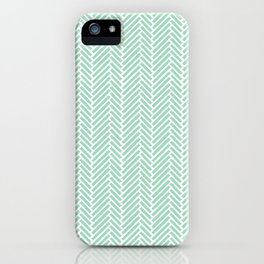 Herringbone Mint Inverse iPhone Case