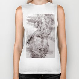 Nude woman pencil drawing Biker Tank