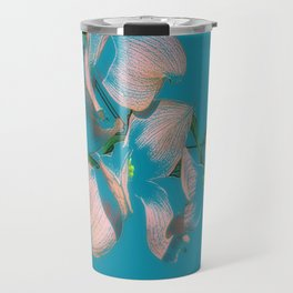 Dogwood Tree Flowers (aqua background) Travel Mug