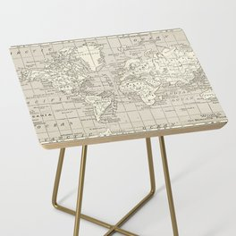 Taupe Wol Map Side Table