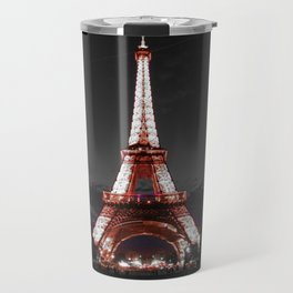 Paris Eiffel Tower Pink Night Travel Mug