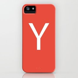 Letter Y Initial Monogram - White on Alizarin iPhone Case
