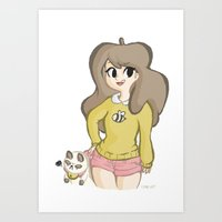 puppycat Art Prints featuring Bee and Puppycat by Lyndie Witt