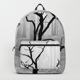 Black Crow in Foggy Forest A118 Backpack