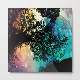 Black Trees Colorful Space Metal Print
